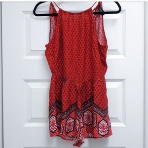 MINK PINK red boho romper, super cute print